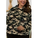 Hot Sale Camouflage Pattern Long Sleeves Oversized Faux Fur Teddy Hoodie