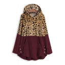 Fashionable Long Sleeve Color Block Leopard Printed Warm Fluffy Teddy Longline Hoodie