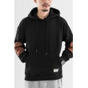 Mens Popular Fashion Colorblock Patched Long Sleeve Casual Drawstring Pullover Hoodie