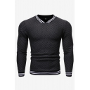 Mens New Fashion Contrast Stripe Hem Long Sleeve Casual Slim Fit Pullover Hoodie