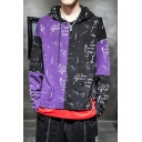 Mens Trendy Letter Graffiti Printed Colorblock Long Sleeve Casual Pullover Drawstring Hoodie