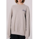 Popular Letter THAT'S GLOSS Figure Printed Round Neck Long Sleeve Unisex Casual Loose Sweatshirt