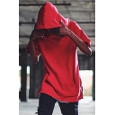 Men's Hot Fashion Simple Plain Short Sleeve Loose Casual Pullover Hoodie