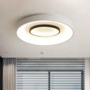 Metallic Drum Flush Mount Ceiling Light Modern Indoor Flush Ceiling Light for Foyer