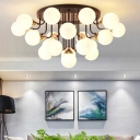 6/10/13/21 Light Orb Semi Flushmount Opal Glass Shade Nordic Modern Ceiling Lamp in Brass