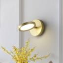 Rotatable Round Wall Sconce Light Modern Metal 1 Light Black/Gold Mini Wall Lighting in Third Gear