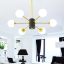 6/8/9 Lights Starburst Chandelier Lighting with Frosted Glass Shade Metal Mid Century Modern Pendant Lamp in Gold