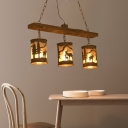 Cylinder Island Chandelier Light with Metal and Fabric Shade 3/5/6 Lights Rustic Hanging Lamp in Rust