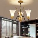 3/5/6/8/12 Lights Floral Chandelier Lighting Vintage Opal Glass Hanging Pendant Light in Brass