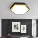 Nordic Hexagon Flushmount Metal Led Black/Green/Grey/White Close to Ceiling Light with Frosted Acrylic Shade, 16