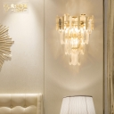 Clear Crystal Cone Wall Lamp Bedroom Restaurant 3 Lights Luxurious Wall Lamp in Gold
