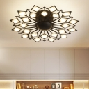 Metal Floral Flush Mount Ceiling Light Modern Multi Light Led Ceiling Flushmount in Black/White