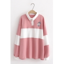 Girls Preppy Style Cartoon Boy Pattern Color Block Striped Contrast Collar Oversized Sweater