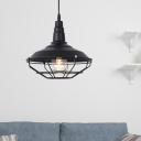 Black Barn Light Pendant Nautical Iron Single Light Hanging Cage Lamp for Living Room