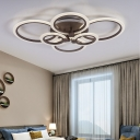 Contemporary Brown LED Ceiling Light Circular Petal Acrylic Neutral/Warm/White Flush Ceiling Light for Living Room