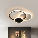 Led Ring/Square Flush Lighting Nordic Metal Black/White Indoor Ceiling Light in Warm/White Light
