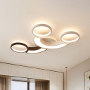 Arc Flush Mount Ceiling Light with 2/3 Rings Nordic Style Led Ceiling Flush Light in Black and White