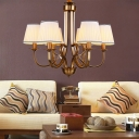 Traditional Chandelier Lighting with White Empire Shade 6/8 Heads Hanging Lamp for Living Room