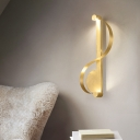 Minimalist Curved Wall Mount Lamp Metal Gold Led Wall Lighting in Warm Light for Bedroom