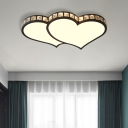 Modern Heart Flushmount with Crystal Accents and Frosted Diffuser Black/Gold Led Flush Ceiling Light in 3 Color/White