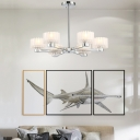 Frosted Glass Drum Shade Pendant Light Contemporary 6 Lights Indoor Suspension Lamp in Chrome