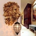 Resin Lion Wall Mounted Lamp with Black Teardrop Lampshade Single Light Loft Wall Lighting in Gold