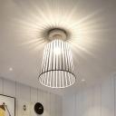 Gray/White/Coffee Tapered Flush Mount Ceiling Light Modernist 1 Light Metal Flush Pendant Light for Bedroom