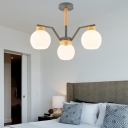 Modern Global Chandelier Light Fixture with Milk Glass Shade 3/5/6/8-Light Bedroom Ceiling Pendant Light in Grey