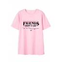 New Trendy Letter FRIENDS Print Round Neck Short Sleeve Pink T-Shirt Top