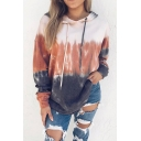 Womens Unique Colorblocked Panel Long Sleeve Thick Drawstring Hoodie with Pocket