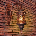 Mini Cylinder Wall Lighting with Crystal Bead Traditional 1 Light Wall Lamp in Copper for Corridor