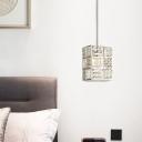 Chrome Rectangular Suspension Light Clear K9 Crystal Modern Single Pendant Light for Dining Room