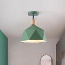 Gray/White/Green Metal Diamond Shaped Semi Flush Mount Light Macaron 1 Light Ceiling Light Fixture for Hall