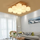Frosted Cubic Glass Shade Semi Flush Light Minimalist 9 Lights Semi-Flush Ceiling Light in Wood for Dining Table