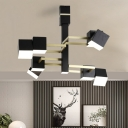 Black Tiered Chandelier Lamp with Square Metal Shade Retro LED Hanging Pendant Light, 30