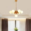 Opal Glass Ball Ceiling Pendant Light Contemporary 7/13 Heads Chandelier Lighting with Rod in Gold