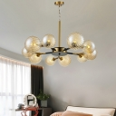Branch Pendant Light with Amber Swirl Glass Contemporary 10 Lights Hanging Chandelier in Gold