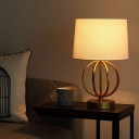 Barrel Table Lighting Vintage 1 Light White Fabric Shade Standing Table Light in Gold with Globe Metal Frame