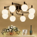 Swirl Arm Semi Flush Ceiling Light Traditional Style 3/6/8 Heads Semi Flush Mount with Orb Frosted Glass Shade