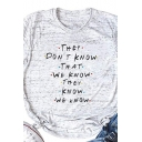 Hot Popular Creative Letters Printed Short Sleeve Casual T-Shirt Top
