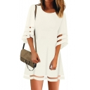 Ladies Casual Round Neck Half Sleeve Sheer Mesh Panel Plain Loose Mini Dress