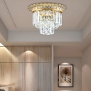 Vintage 2 Tiers Flush Ceiling Light Clear Faceted Crystal Flushmount Lighting in Gold, 14