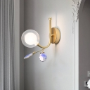 Mini Orb Wall Sconce Light Nordic Style Clear Glass 1 Light Wall Lighting with Blue/Purple/Blue-Pink-Yellow Agate