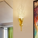 Gold Torch Wall Sconce Lighting 1 Light Modern Metallic Wall Lighting for Stairway