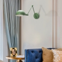 Swing Arm Wall Sconce Lighting with Dome Shade Nordic Metal 1 Head Wall Lighting Fixture in Blue/Green for Living Room