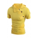 Summer Popular Oblique Snap Button Embellished Short Sleeve Hooded T-Shirt Yellow Fitted Hoodie
