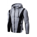 Colorblocked Topstitch Embellished Long Sleeve Fitness Work Out Zipper Hoodie