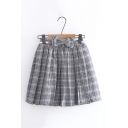 Sweet Style Check Pattern Bow Elastic Waist Mini Pleated Skirt