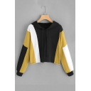 Ladies Leisure Contrast Panel Long Sleeve Crop Hoodie