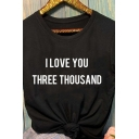 Popular Letter I LOVE YOU THOUSAND Printed Short Sleeve Leisure T-Shirt Top